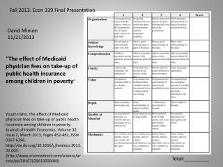 Fall  2013: Econ 339 Final Presentation