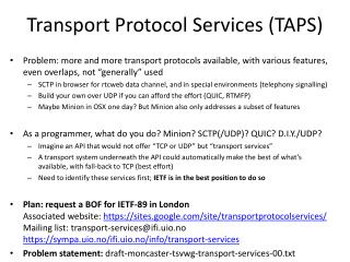 Transport Protocol Services (TAPS)
