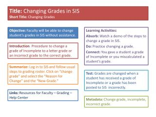Learning Activities: Absorb:  Watch a demo of the steps to change a grade in SIS.