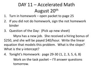 DAY 11 – Accelerated Math August 20 th