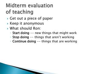 Midterm  evaluation of teaching