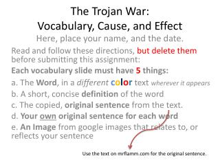 The Trojan War:  Vocabulary, Cause, and Effect