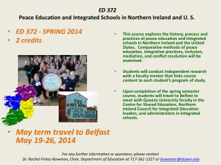 ED 372 Peace Education and Integrated Schools in Northern Ireland and U. S.