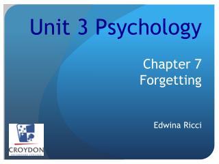 Unit  3  Psychology Chapter 7   F orgetting Edwina Ricci