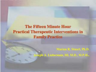 The Fifteen Minute Hour Practical Therapeutic Interventions in Family Practice