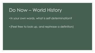 Do Now – World History