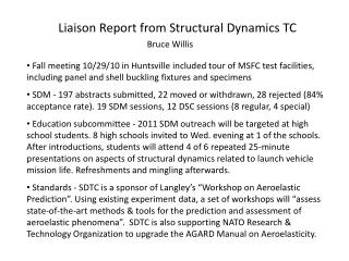 Liaison Report from Structural Dynamics TC