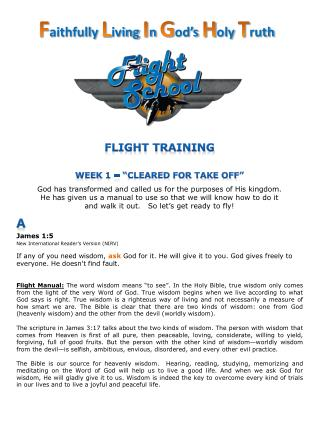 "Flight Training WEEK 1 – ""Cleared for Take Off"""