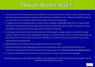 Clinical Waste Audit