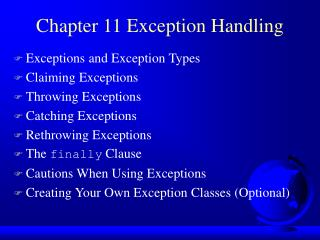 Chapter 11 Exception Handling