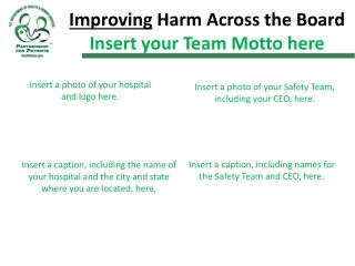 Improving  Harm Across the Board Insert your Team Motto here