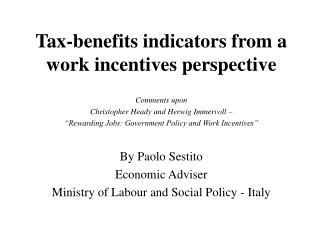 Tax-benefits indicators from a work incentives perspective
