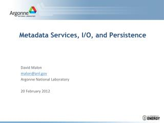 Metadata Services, I/O, and Persistence