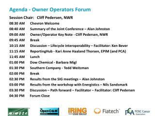Agenda  - Owner Operators Forum