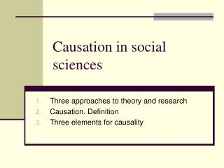 Causation in social sciences