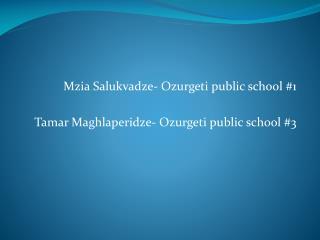 Mzia Salukvadze -  Ozurgeti  public school #1 Tamar  Maghlaperidze -  Ozurgeti  public school #3
