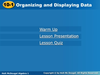 Organizing and Displaying Data