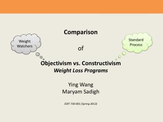 Comparison  of Objectivism vs. Constructivism Weight Loss Programs Ying Wang Maryam Sadigh