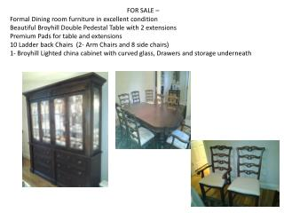 FOR SALE –  Formal  Dining room furniture in excellent condition