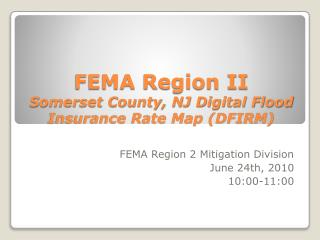 FEMA Region II Somerset County, NJ Digital Flood Insurance Rate Map (DFIRM)