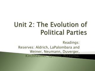 Unit 2: The Evolution of Political Parties