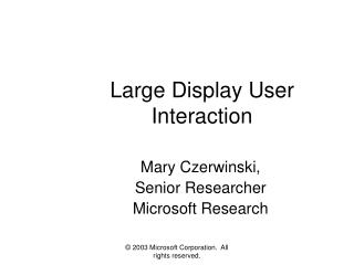 Large Display User Interaction