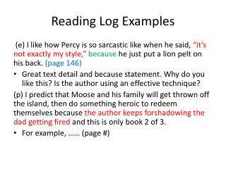 Reading Log Examples