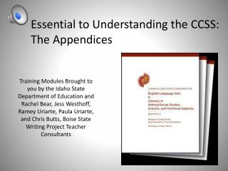 Essential to Understanding the CCSS: The Appendices