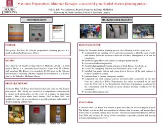 Maximize  Preparedness, Minimize Damages: a successful grant-funded disaster planning project