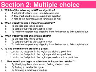 Which of the following is NOT an algorithm?  A set of instructions used to build a wardrobe