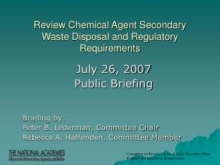 Review Chemical Agent Secondary Waste Disposal and Regulatory Requirements