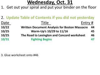 Wednesday ,  Oct.  31