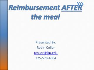 Reimbursement  AFTER  the meal
