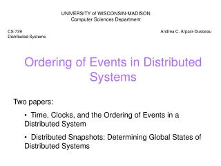 Ordering of Events in Distributed Systems