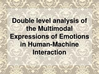Double level analysis of the Multimodal Expressions of Emotions in Human-Machine Interaction
