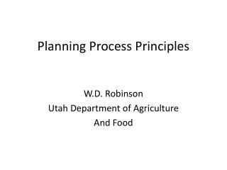 Planning Process Principles
