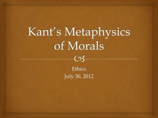 Kant's Metaphysics of Morals