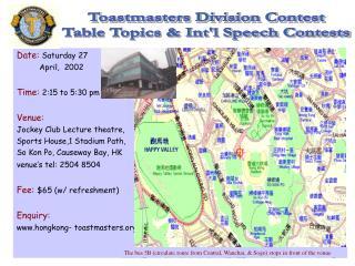 Date: Saturday 27     April,  2002 Time: 2:15 to 5:30 pm Venue: Jockey Club Lecture theatre,