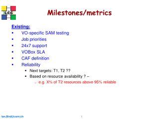 Milestones/metrics