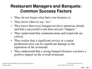 Restaurant Managers and Banquets:  Common Success Factors