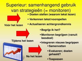 Superieur: samenhangend gebruik van strategieën (= monitoren)