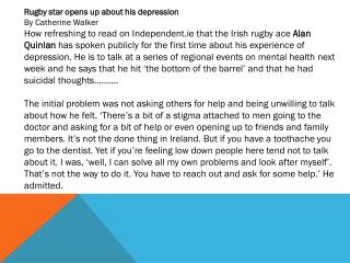 Rugby star opens up about his depression By Catherine Walker