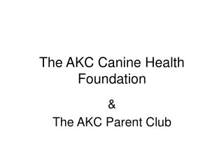 The AKC Canine Health Foundation