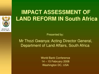 IMPACT ASSESSMENT OF  LAND REFORM IN South Africa