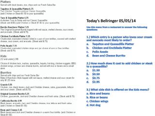 Today's  Bellringer  05/ 05/ 14