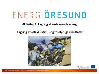 Aktivitet  1:  Lagring af vedvarende energi Lagring af affald  –status  og foreløbige resultater