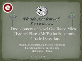 Development of Novel Gas-Based Micro-Channel Plates (MCPs) for Subatomic Particle Detection.