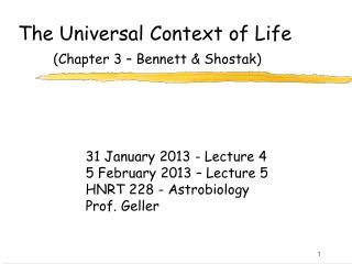 The Universal Context of Life (Chapter 3 – Bennett & Shostak)