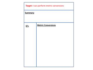 Target:  I can perform metric conversions