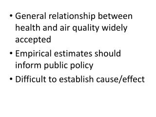 General relationship between health and air quality widely accepted
